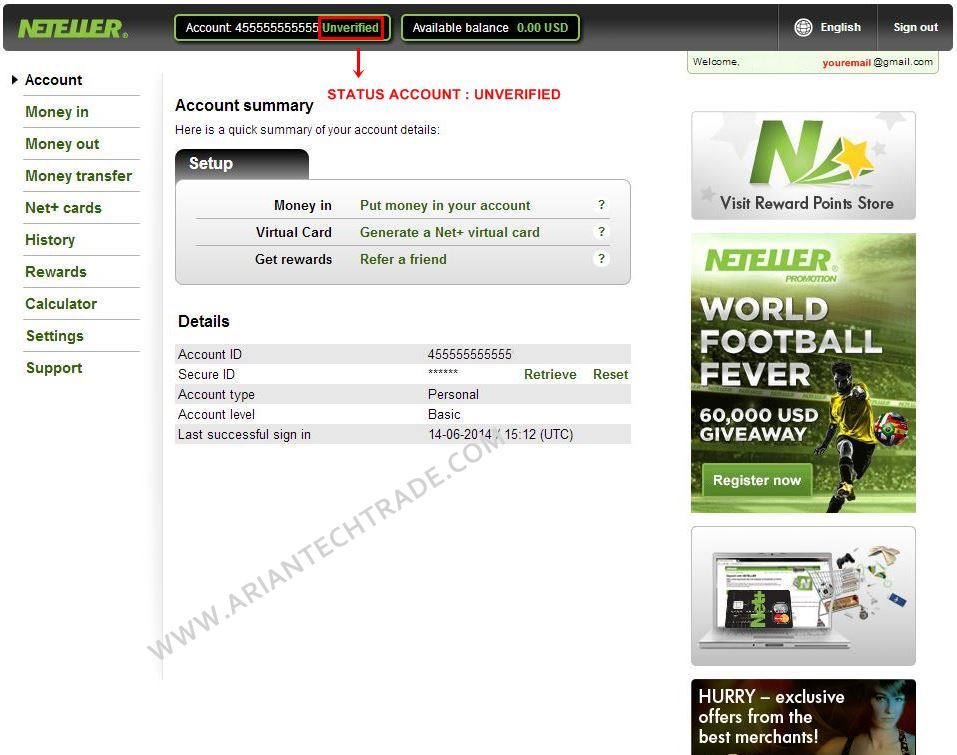 NETELLER ACCOUNT SUMMARY